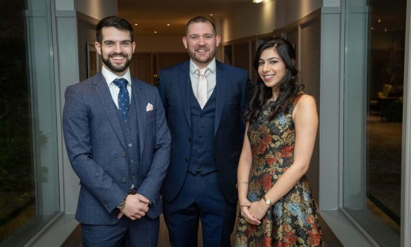 Chetna Sapru Well Intervention Engineer at the I Co TA Europe Annual Dinner with Fraser Proud and Darren Paul
